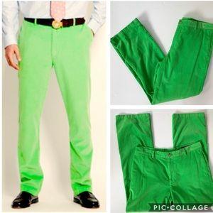 Vineyard Vines Bright Green Corduroy Pants 35 x 32